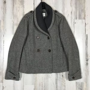 J. Crew | Gray Wool Shawl Knit Collar Pea Coat 10